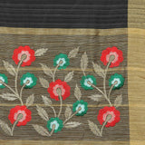 Black Cotton Saree with Golden Border