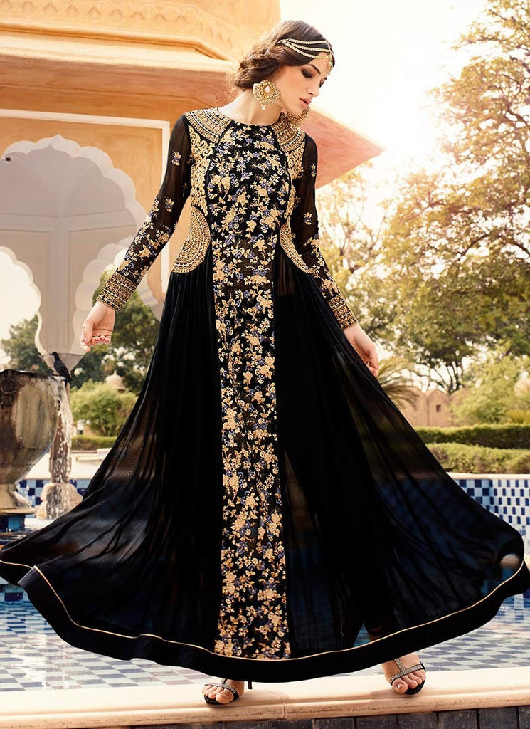 0100cd019765 Online Shop Designer Black and golden color georgette Partywear Anarkali  Frock Style Suit With Heavy Embroidery – Lady India