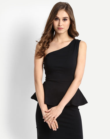 online-black-peplum-bodycon-dress-one-off-shoulder-black-midi-dress-