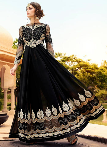 Black-Georgette-Side-Slit-Straight-Pant-Suit-Slawar-Suit-Anarkali-Suit