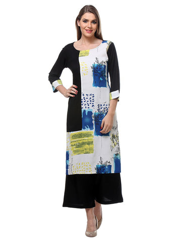 Casual Wear Black & White Colored Rayon Printed Stitched kurti with plazo
