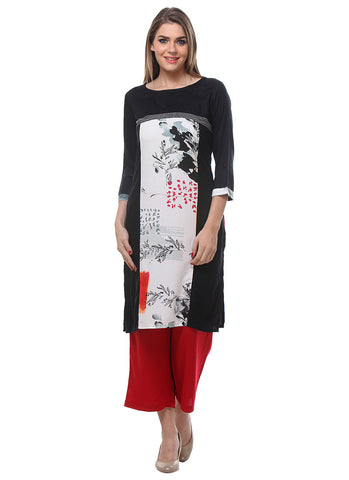 Black, White & Red Colored Casual Wear Rayon Printed Kurti with Plazo