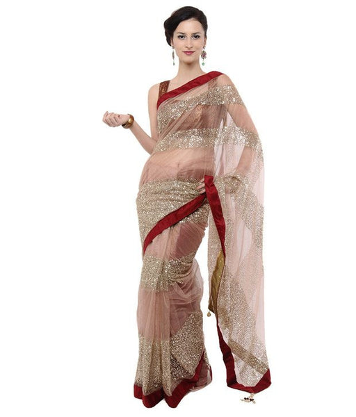 Light Peach Color Net Saree Designed With Silver embroidery & Lace Border Work