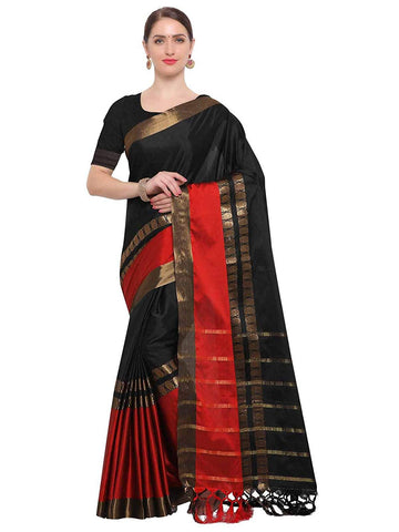 Black Saree With Red Border