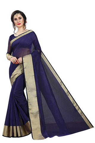 Blue And Gold Saree