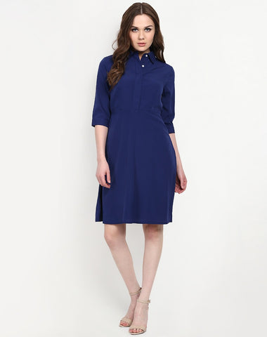 Dark Blue Shrit Style Midi Dress With Collar & Full Sleeves Midi Dress For Girls Western Wear