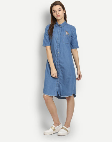 blue-denim-embroidered-half-sleeves-shirt-dress-designer-midi-dresses-for-women