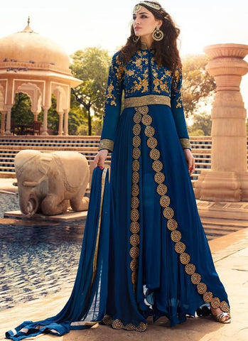Designer Floor Length Anarkali Suit Semi Stitched Blue Embroidered Anarkali Dress