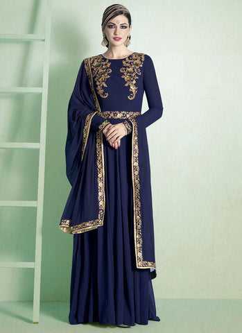 Semi-Stitched-Salwar-Suit-New-Style-Georgette-Suit-In-Blue-Designer-Anarkali-Suit