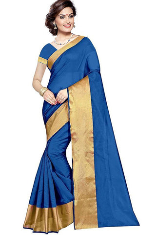 Blue Saree With Gold Border