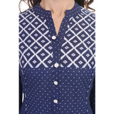 Elegant Trendy Printed Cotton Blue Kurti For Women