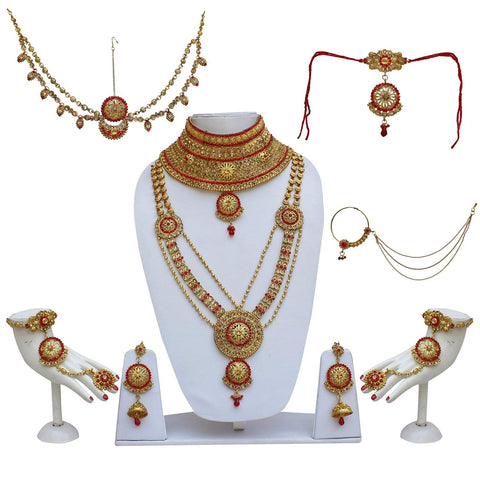 Bridal Golden Red Color Alloy Gold Plated Wedding Jewellery Set