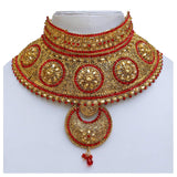 Bridal Jewelry Set - Red Gold Plated Alloy Wedding Jewellery Set for Women