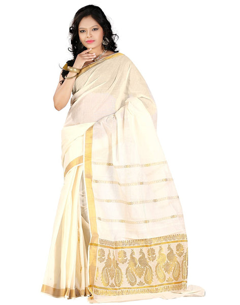 Buy Kerala Saree Online - White Saree With Golden Border