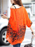 New Fashion Style Tops Casual Flower Print Orange Chiffon Blouse Top