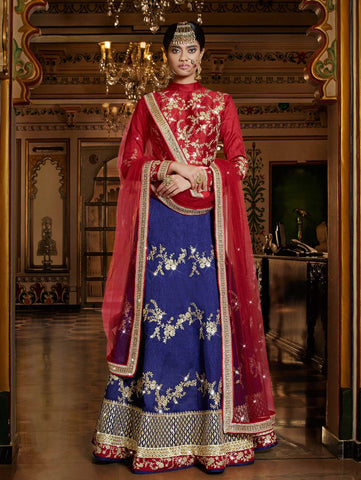 Bollywood Lehenga Choli Navy Blue & Red Color With Patch, Stone & Lace Work Bridal Lehenga Choli