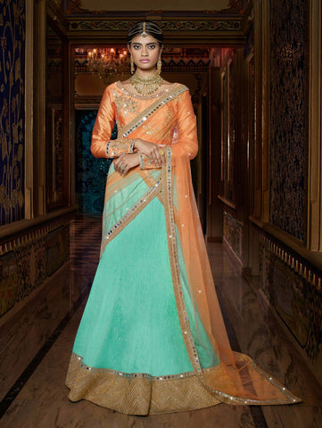 Lehenga Choli Sea Green With Patch & Stone Work Indian Lehenga Choli