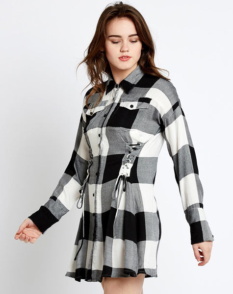 black-&-white-block-printed-full-sleeves-style-shirt-mini-dress