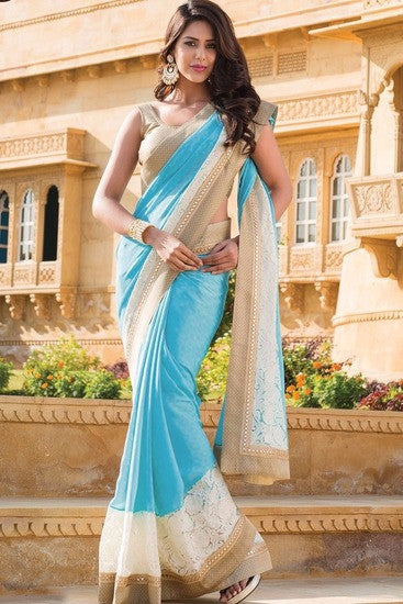 New Festive Trendy Blue Saree For Women