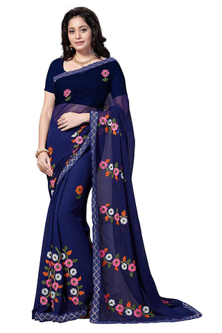 Chiffon Saree With Zari Border