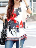 New Design Chinese Painting Print Top With Slash Designer Tops