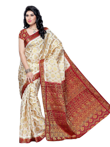 Cream And Maroon Pattu Saree