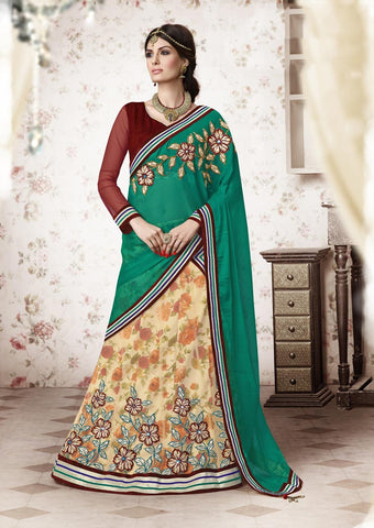 Emrald Green & Cream Colored Net Heavy Embroidered Lehenga Choli