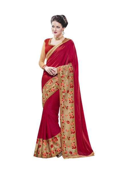 Partywear Plain Crepe Sarees Broad Floral Embroidery Border Work Sarees