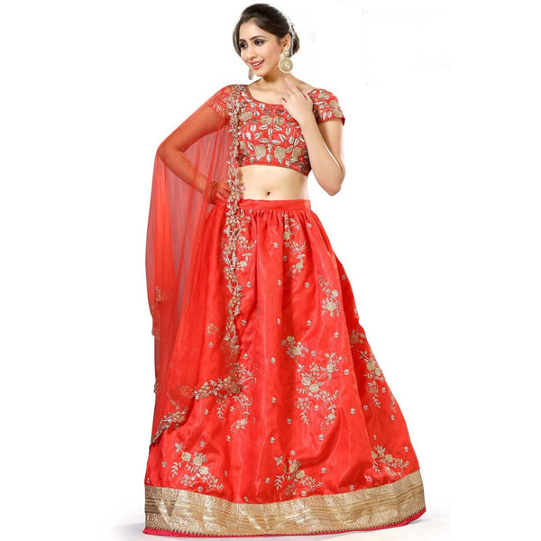 Red Color Satin Banglori Traditional Lehenga Choli Bridal Wear