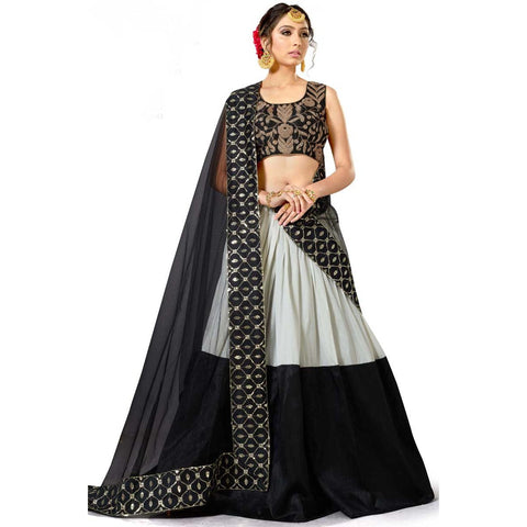 Black Color Lehenga Heavy Embroidered Semi Stitched Lehenga Choli Ghagra Choli