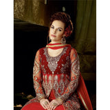 Designer Bridal Red Net Embroidered Anarkali Suit - Anarkali With Front Open Choli Style Suit
