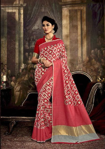 Printed Silk Sarees Pink & Grey Silk Sarees With Dyed Weaving Printed Work