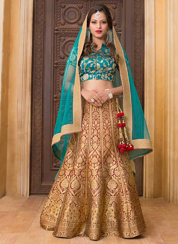 Sea Green And Brown Colored Floral Pattern  Heavy Embroidered Latest Lehenga Choli