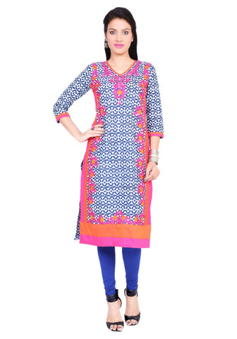 Blue Straight Cotton Kurtis Cotton Printed Kurtis For Girl