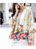 Elegant White Chiffon Blouse With Flowery Print Top - Printed Designer Tops