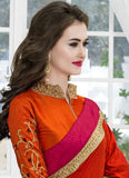 Shop Online Orange & Pink Art Silk Sarees With Embroidery & Lace Work Saree