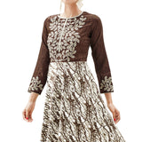 Eid Special Designer Brown And Cream Colored Floral Embroidered And Forest Tree Design Stitched Partywear Kurti