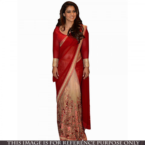 bridal-bollywood-sarees-red-and-cream-kajol's-bollywood-sarees-with-floral-embroidery-and-lace-border-work