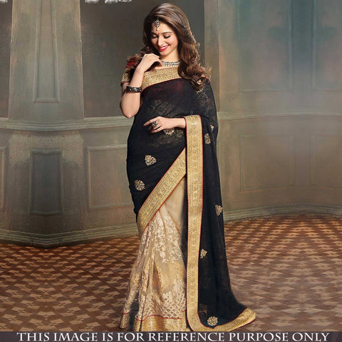 black-and-beige-half-and-half-style-bollywood-sarees-with-zari-embroidery,-patch-and-lace-border-work