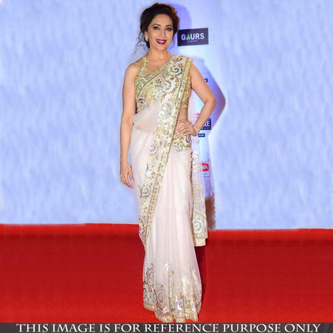 party-wear-white-net-bollywood-sarees-with-sequins-&-multi-work-madhuri-dixit's-designer-bollywood-sarees