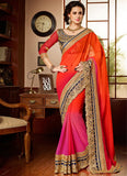Orange & Shaded Bridal Saree Designer Party Wear Heavy Golden Border Saree