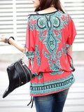 New Design Festive Red Ethnic Print Chiffon Top - Designer Tops