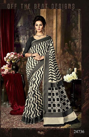 Printed Silk Sarees Off White & Black Art Silk Sarees With Dyed Woven Work