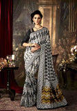 Designer Art Silk Sarees Grey & Black Silk Saree With Dyed Weaving Printed Work