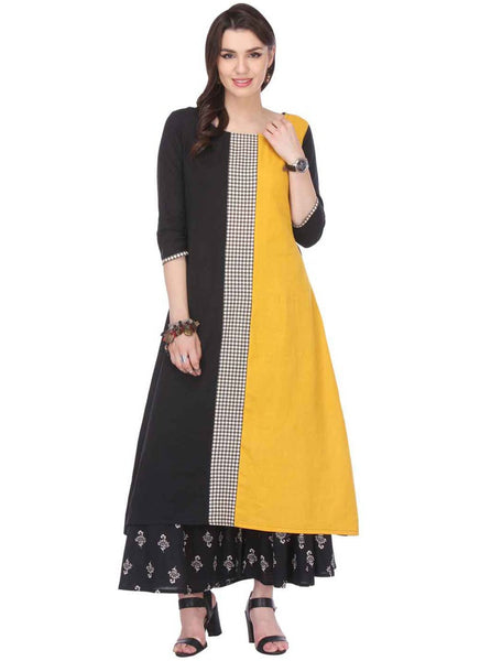 Long Printed Kurtis Black & Yellow Colored Rayon Kurtis & Kurtas Stitched Printed Kurti