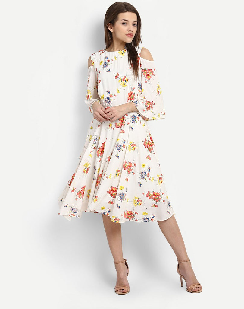 5d1d76a17c Shop Online Multi-Colored Floral Dress Cold Shoulder Skater Dress Printed  Party Wear Midi Dress For Women – Lady India