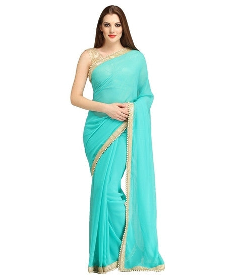 Latest Flygud Skyblue Designer Plane Georgette Party Wear Saree For Women