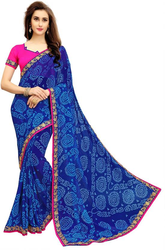 4e5fdaab3e Shop Online Rajasthani Saree Bandhani Print Golden Lace Border Georgette  Sarees – Lady India