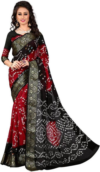 festive-wear-self-bandhani-print-embroidered-border-work-art-silk-saree