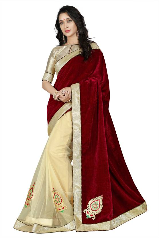 70695c4708c976 Buy Now Embroidered Partywear Velvet Saree Golden Zari Lace Border Patch  Work Net Saree – Lady India